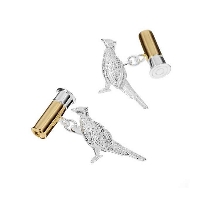 Sterling Silver Phesant Bullet Cufflinks