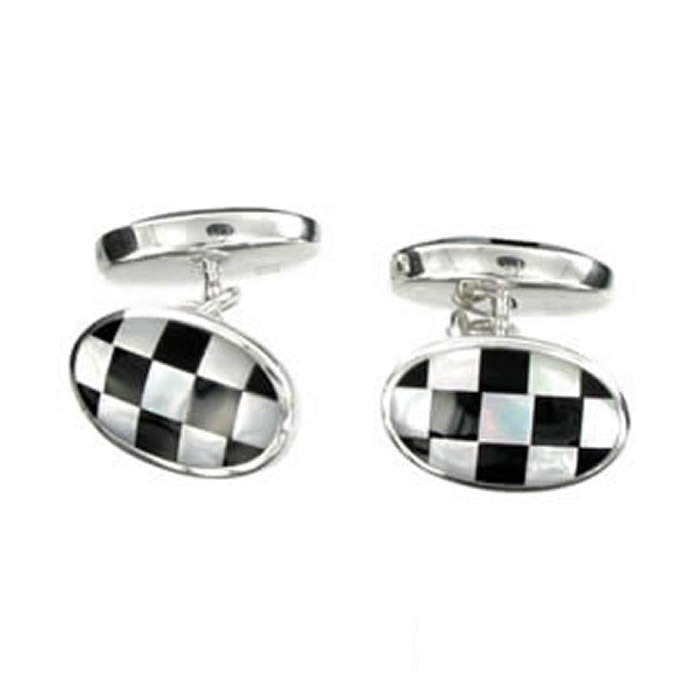 Sterling Silver Black And White Chequered Mop Cufflinks