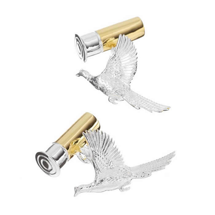 Sterling Silver Bird Bullet Cufflinks