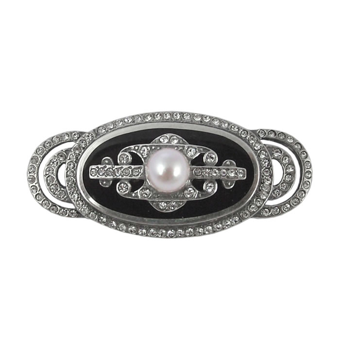 Sterling Silver Ornate Marcasite Brooch