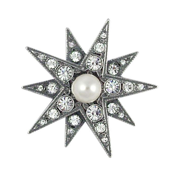 Sterling Silver Swarovski Crystal And Pearl Star Brooch