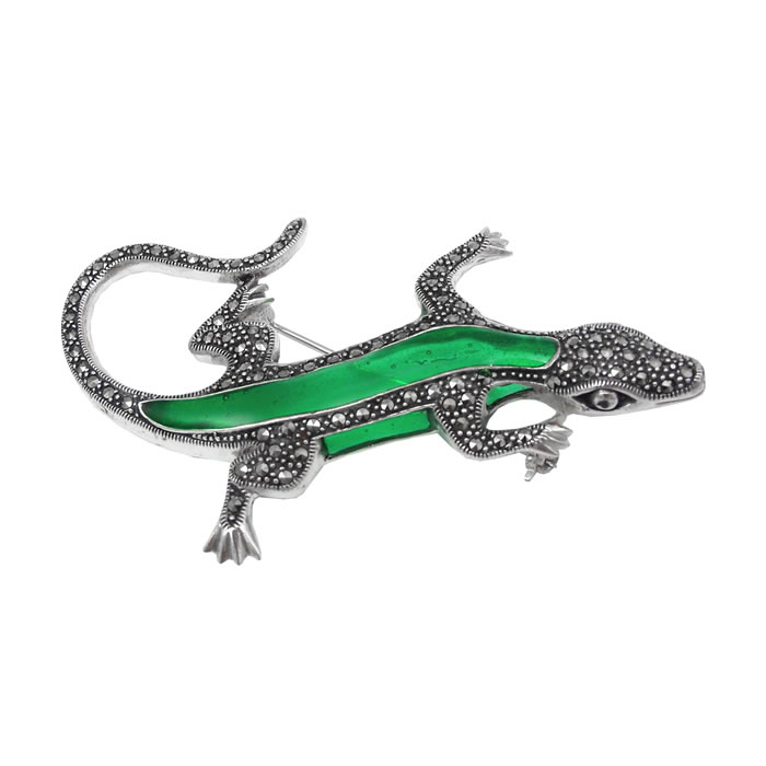 Sterling Silver Green Marcasite Lizard Brooch
