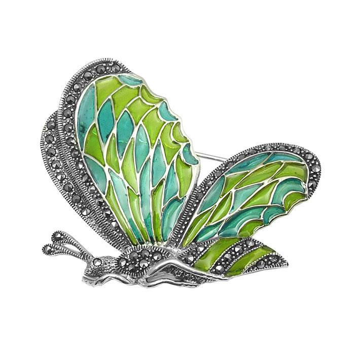 Sterling Silver Art Nouveau Green Butterfly Brooch