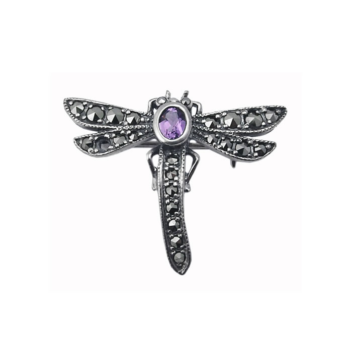 Sterling Silver Art Nouveau Style Dragonfly Brooch