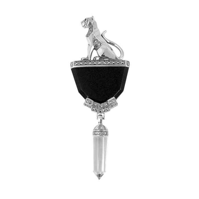 Sterling Silver Onyx Windsor Collection Sitting Panther Brooch