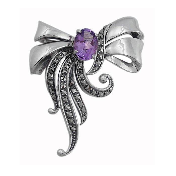 Sterling Silver Art Nouveau Bow Brooch