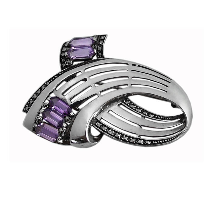 Sterling Silver And Amethyst Art Nouveau Brooch