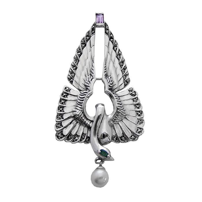 Sterling Silver Art Nouveau Swan Brooch