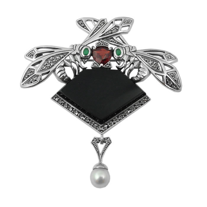 Sterling Silver And Onyx Art Nouveau Bee Brooch