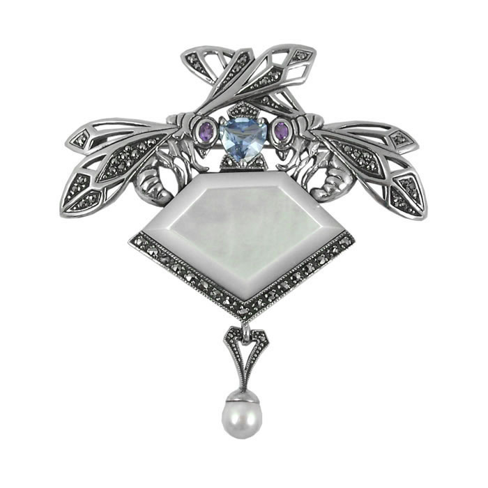 Sterling Silver And Mother Of Pearl Art Nouveau Bee Brooch
