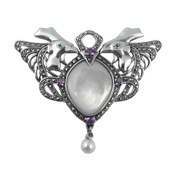 Sterling Silver And Mother Of Pearl Art Nouveau Cockerel Brooch