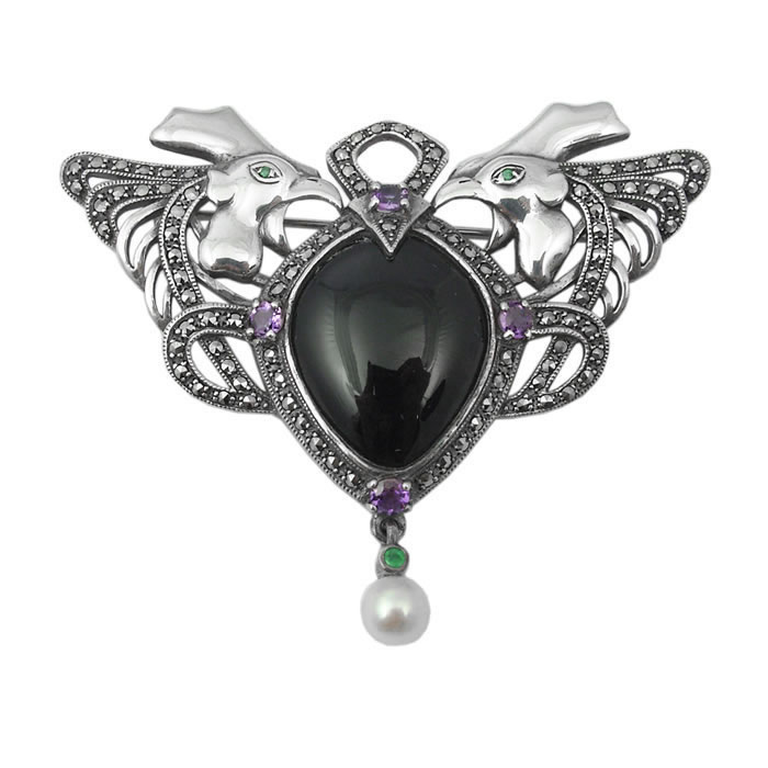 Sterling Silver And Onyx Art Nouveau Cockerel Brooch
