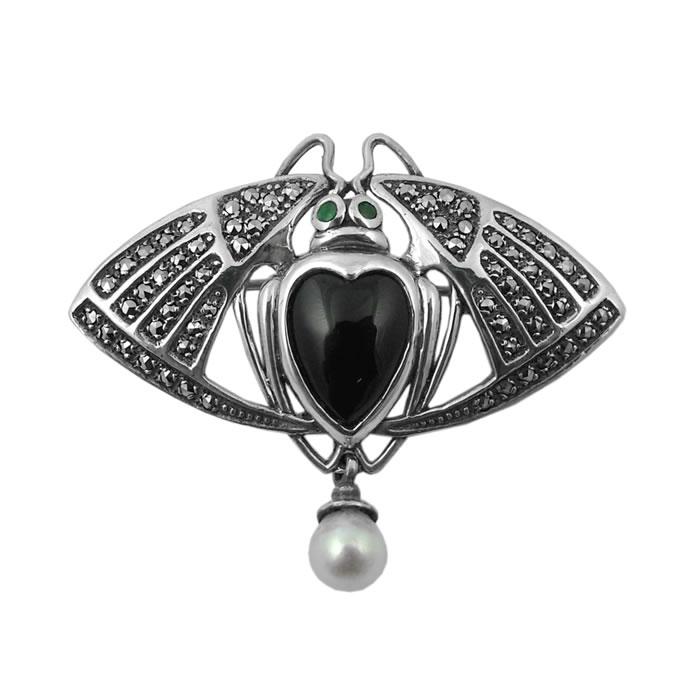 Sterling Silver Art Nouveau Black Fly Brooch