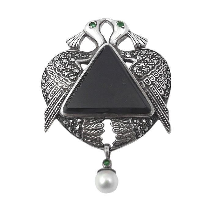 Sterling Silver And Onyx Art Nouveau Peacock Brooch
