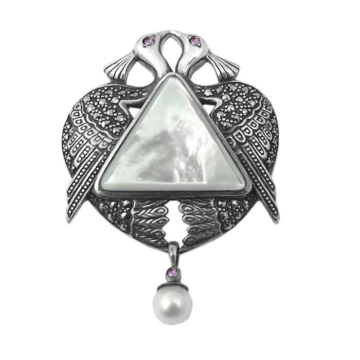 Sterling Silver And Mother Of Pearl Art Nouveau Peacock Brooch