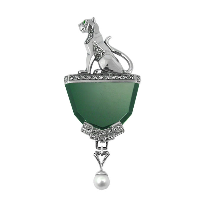 Sterling Silver Green Agate Panther Sitting Brooch