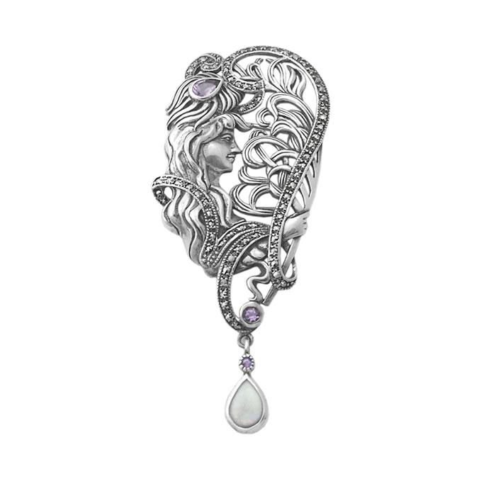 Sterling Silver Art Nouveau Style Bust Brooch