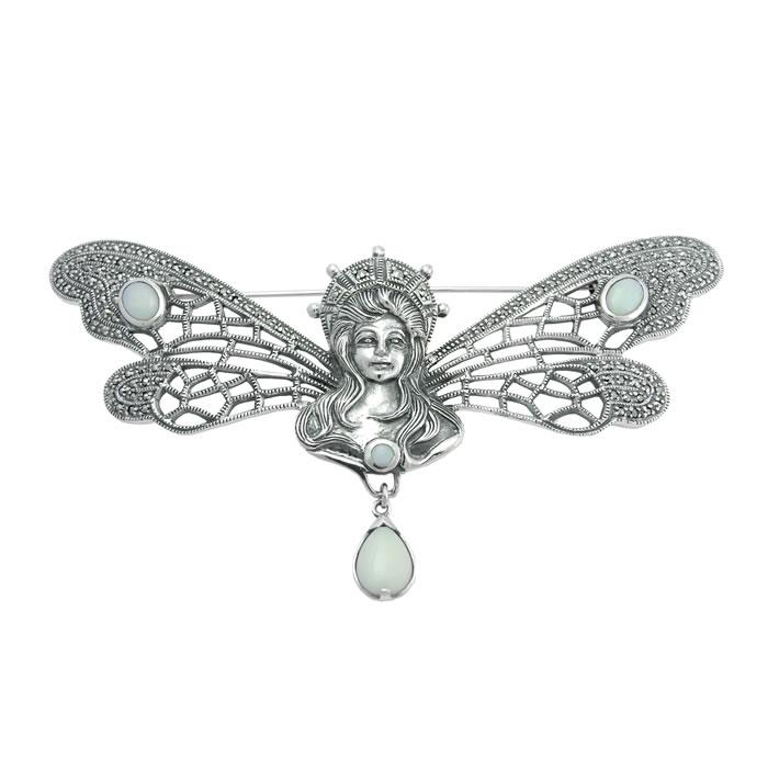 Sterling Silver Art Nouveau Fairy Brooch