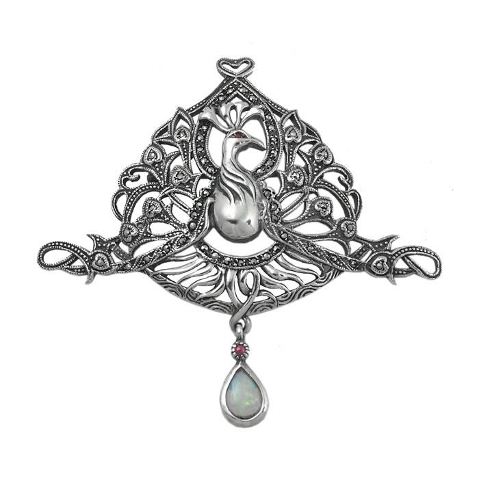 Sterling Silver Art Nouveau Bird Brooch