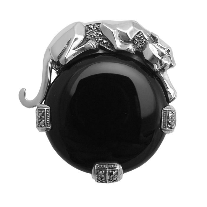 Sterling Silver Onyx Windsor Collection Brooch