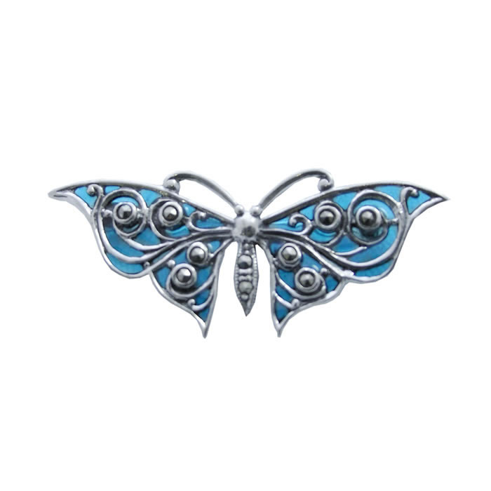 Sterling Silver Art Nouveau Blue Butterfly Brooch