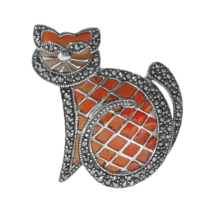 Sterling Silver Orange Marcasite Cat Brooch