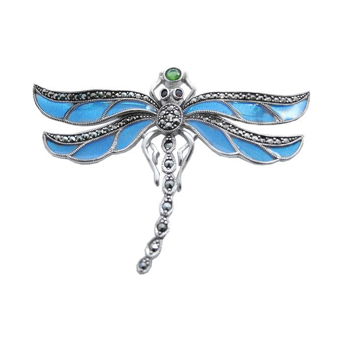Sterling Silver Art Nouveau Blue Dragonfly Brooch