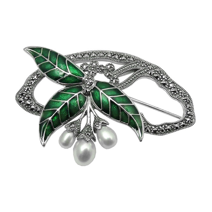 Sterling Silver Art Nouveau Leaves And Berries Brooch