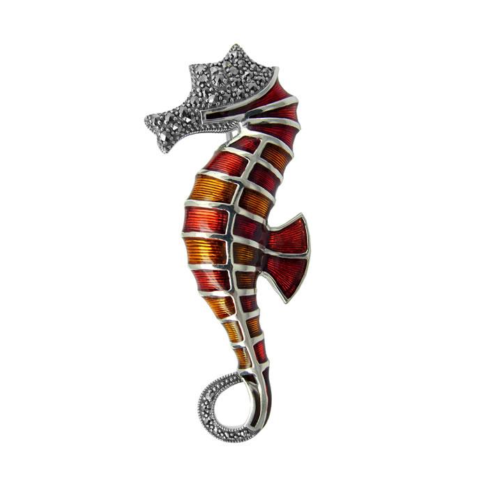 Sterling Silver Art Nouveau Seahorse Brooch