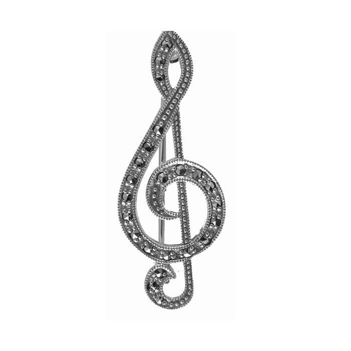 Sterling Silver And Marcasite G Clef Brooch