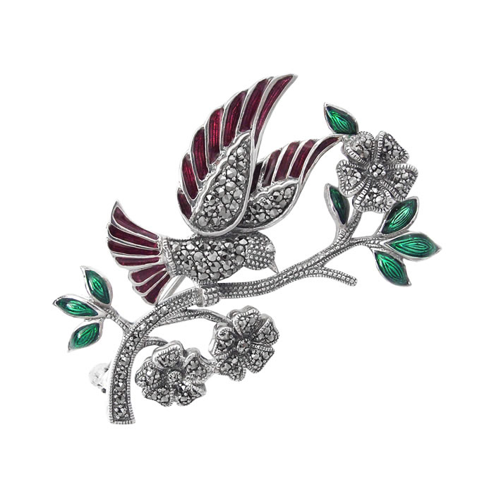 Sterling Silver Art Nouveau Flower And Bird Brooch