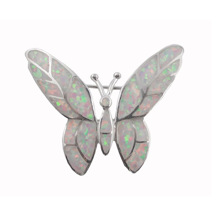 Sterling Silver Art Nouveau Opal Coloured Butterfly Brooch