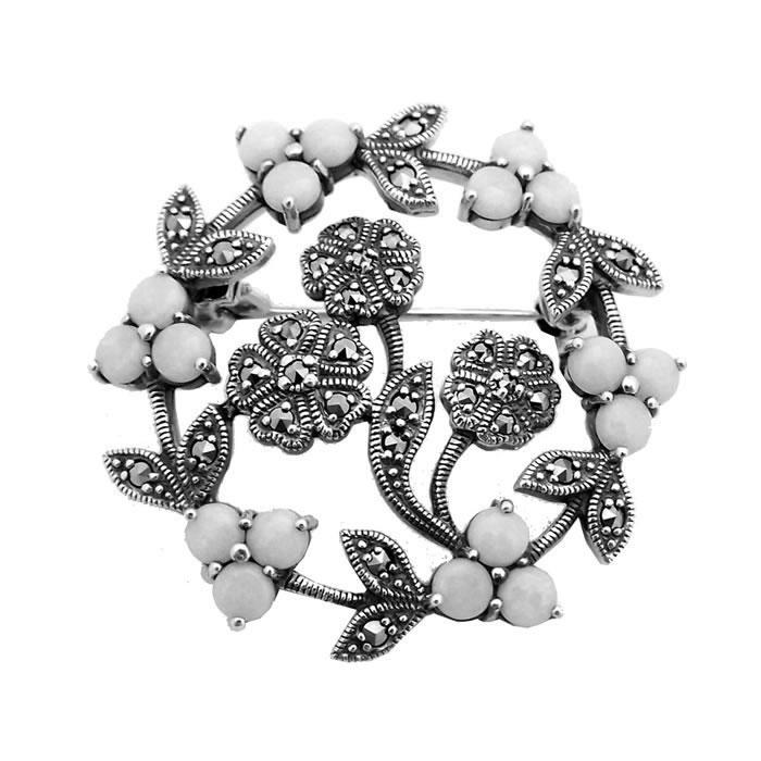 Sterling Silver Art Nouveau Floral Brooch