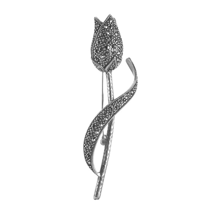 Sterling Silver Art Nouveau Marcasite Flower Brooch