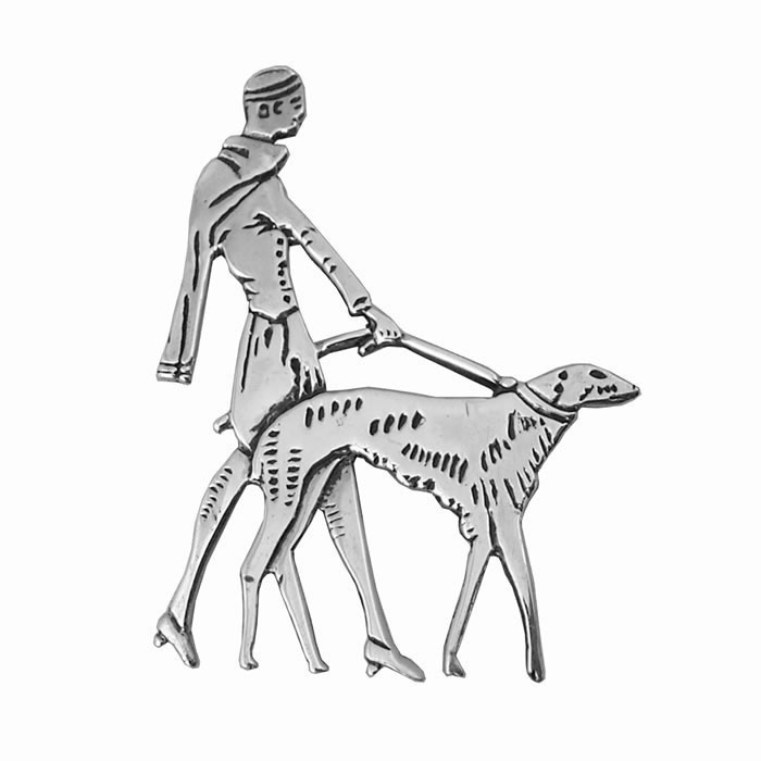 Sterling Silver Dog Walking Brooch