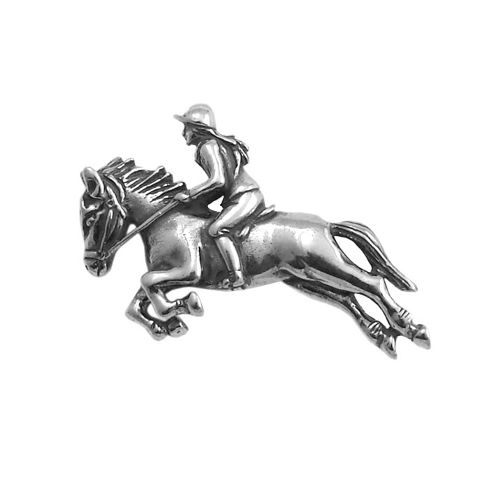 Sterling Silver Horse Racing Brooch