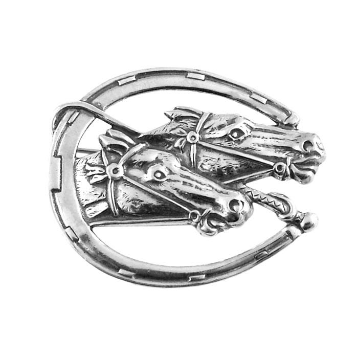 Sterling Silver Racing Horses Brooch