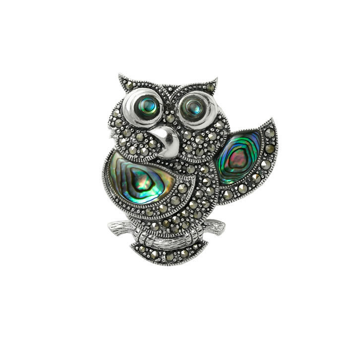 Sterling Silver Marcasite And Shell Owl Brooch