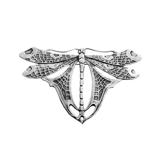 Sterling Silver Art Nouveau Patterned Dragonfly Brooch