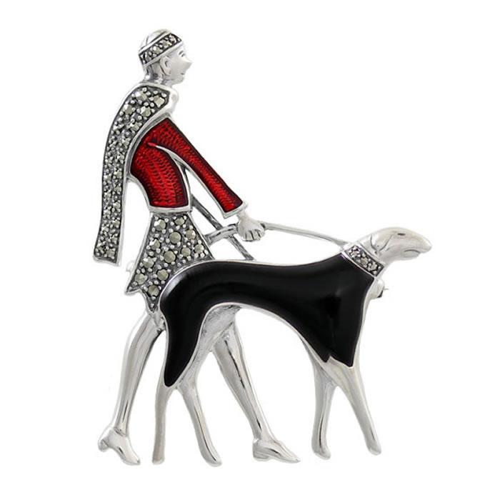 Sterling Silver Elegant Art Deco Dog Walk Brooch