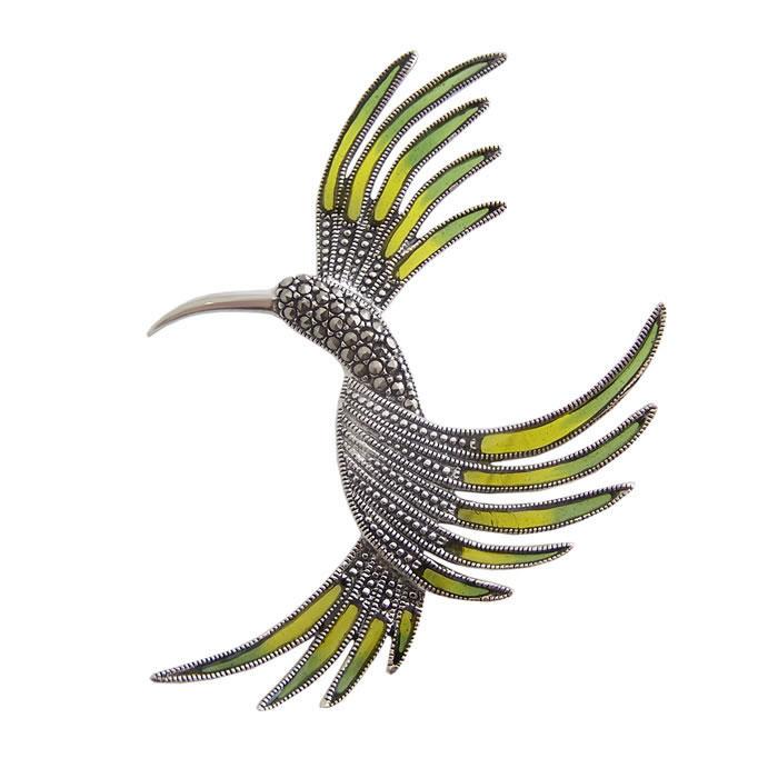 Sterling Silver Marcasite Hummingbird Brooch