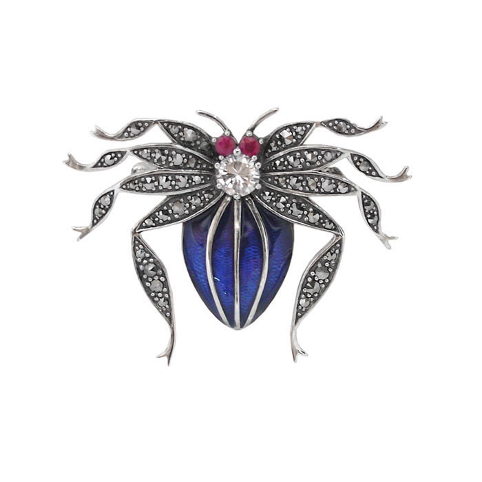 Sterling Silver Marcasite Spider Brooch