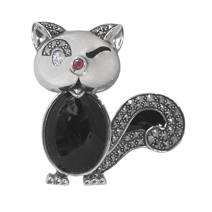 Sterling Silver Marcasite Winking Cat Brooch