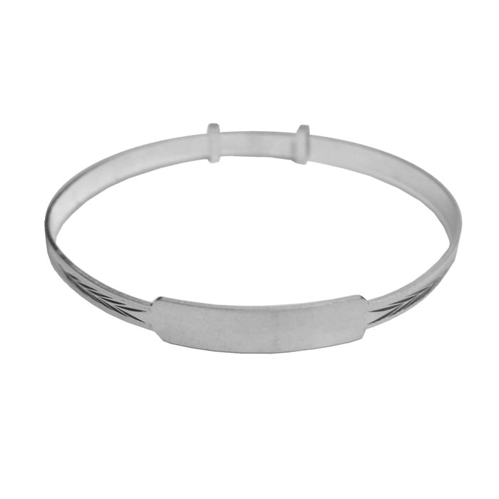 Sterling Silver Plain Baby Bangle with Engravable Plate