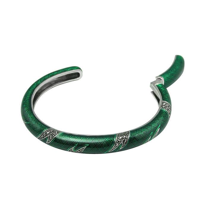 Sterling Silver Green Marcasite Enamelled Bangle