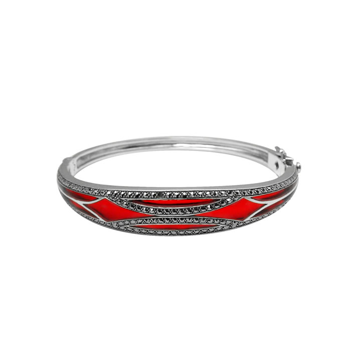 Sterling Silver Red Enamel Bangle