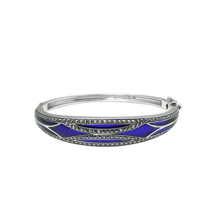 Sterling Silver Blue Enamel Bangle