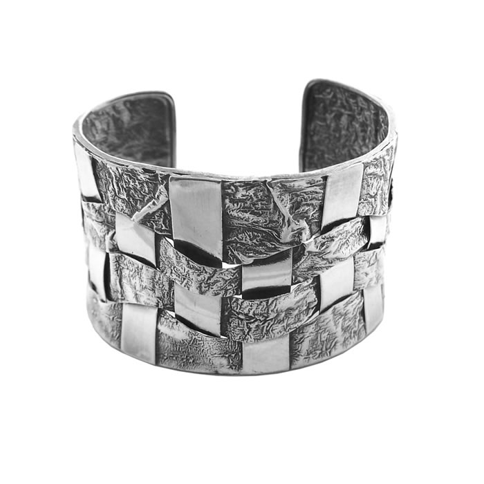Sterling Silver Modern Lattice Bangle