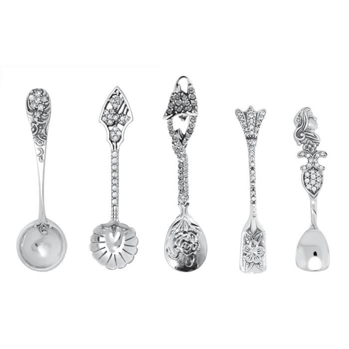 Sterling Silver 5 Piece Salt Or Mustard Spoon With Crystal Set