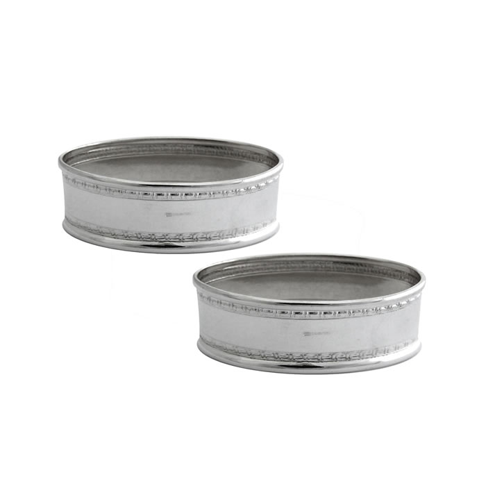 Sterling Silver Rectangular Boardered Napkin Ring Set